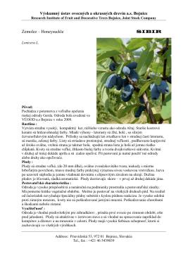 zemolez Sibir - Výskumný ústav ovocných a okrasných drevín as