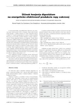 Účinok hnojenia digestátom na energetickú efektívnosť produkcie