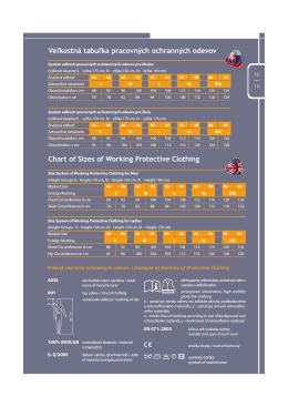 Veľkostná tabuľka pracovných ochranných odevov Chart of Sizes of