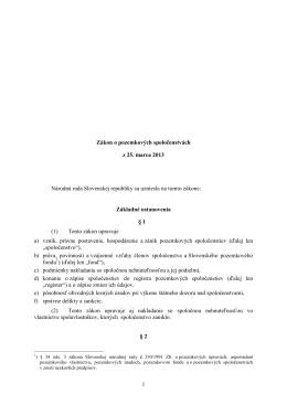 1 Zákon o pozemkových spoločenstvách z 25. marca 2013 Národná