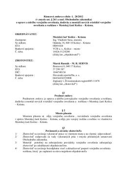 Rámcová zmluva o dielo č. 20/2012 (v zmysle ust. § 261 a nasl