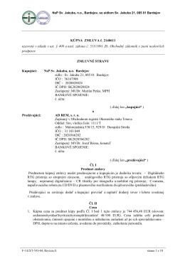 KÚPNA ZMLUVA č. 2140611 uzavretá v súlade s ust. § 409 a nasl