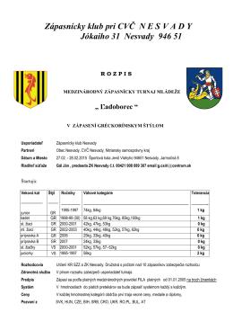 Zápasnícky klub pri CVČ N E S V A D Y Jókaiho 31 Nesvady 946 51