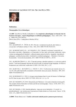 Informations sur la présidente SAUF (doc. Mgr. Jana Birova, PhD