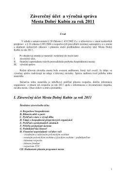 Záverečný účet a výročná správa Mesta Dolný Kubín za rok 2011