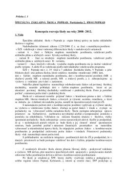 Koncepcia rozvoja školy na roky 2008- 2012.