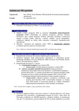 Zadanie pre PR agentúru - Slovenská diabetologická spoločnosť