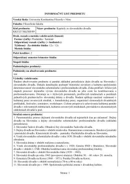 Kapitoly zo slovenského divadla - Katedra kulturológie FF UKF v Nitre