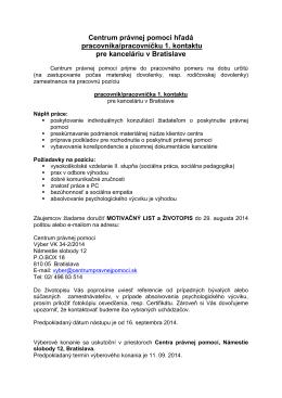 Centrum právnej pomoci hľadá pracovníka/pracovníčku 1. kontaktu