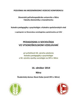 pozvánku na konferenciu - Slovenská sociologická spoločnosť pri SAV