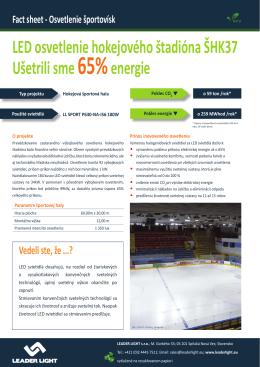 LED osvetlenie hokejového štadióna ŠHK37 Ušetrili sme65%energie