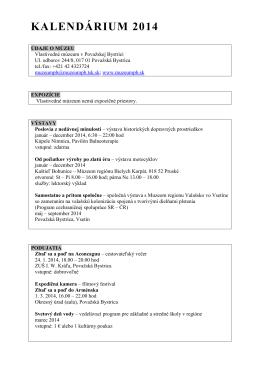 Podujatia a výstavy na rok 2014 - Vlastivedné múzeum v Považskej