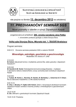 Zoznam príspevkov na PVS 2009 - Slovenska geologicka spoločnosť