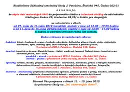Riaditeľstvo Základnej umeleckej školy J. Potočára, Školská 945