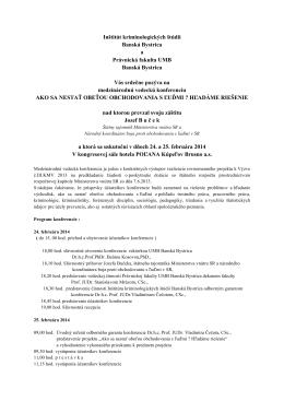 Inštitút kriminologických štúdii Banská Bystrica a Právnická fakulta