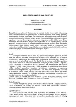biologická ochrana rastlín - Slovenská poľnohospodárska univerzita