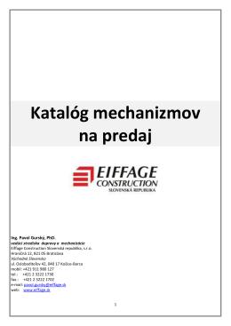 Katalóg mechanizmov na predaj - Eiffage Construction Slovenská
