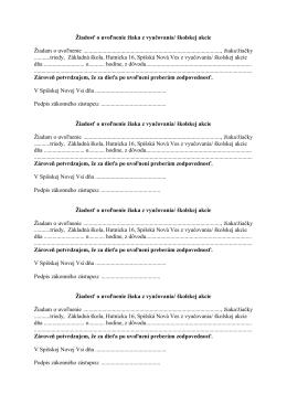 Žiadosť o uvoľnenie žiaka z vyučovania/ školskej akcie Žiadam o