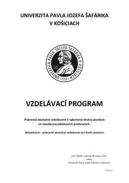 vzdelávací program - CCV UPJS - Univerzita Pavla Jozefa Šafárika