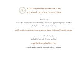 Pozvánka - Inaugurácia SHÚR spojená s inauguračnou prednáškou