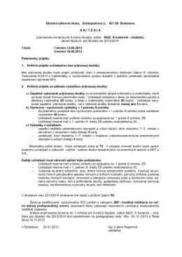 Stredná odborná škola, Svätoplukova 2, 821 08 Bratislava KRIT É RI