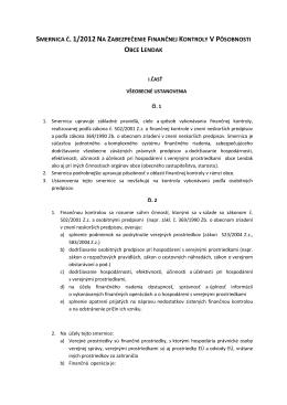 smernica č. 1/2012 na zabezpečenie finančnej kontroly v pôsobnosti
