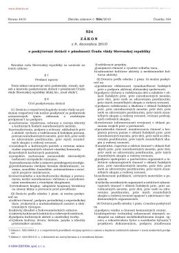 524/2010 Zákon o poskytovaní dotácií v pôsobnosti Úradu vlády
