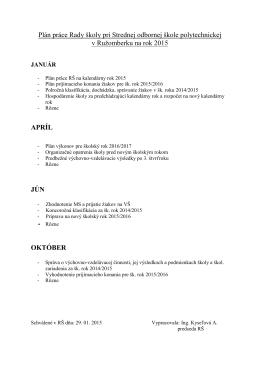 Plán práce Rady školy pri Strednej odbornej škole polytechnickej v