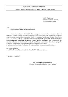 Herman Slovakia Distribution sro, Mokrá Lúka 226, 050 01 Revúca