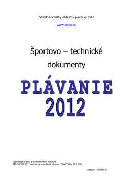 Športovo-technické dokumenty plávania Stredoslovenskej oblasti na