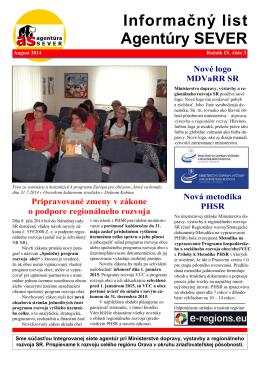 Náš Informačný list č. 3/2014 - Agentúra pre regionálny rozvoj SEVER