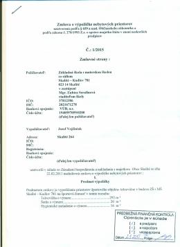 1/2015 Zmluvné strany - Základná škola s materskou školou Skalité