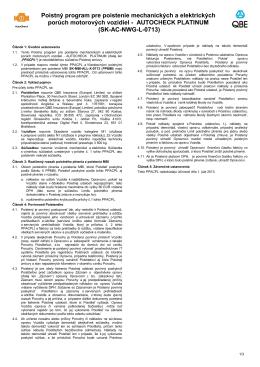 Poistný program pre poistenie mechanických a elektrických porúch
