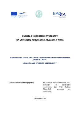 kvalita a hodnotenie študentov na univerzite konštantína filozofa v nitre