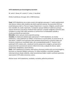 VATS lobektómia pre bronchogénny karcinóm M. Janík, R. Benej, M
