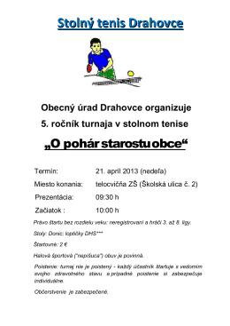 """Pozvánka na 5. ročník turnaja v stolnom tenise """"O pohár starostu obce"""""""