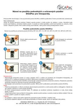 Návod na použitie podvodných a ochranných púzdier DiCAPac pre