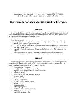 Organizačný poriadok obecného úradu v Bitarovej.