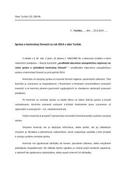 Správa o kontrolnej činnosti za rok 2014 v obci Turček.
