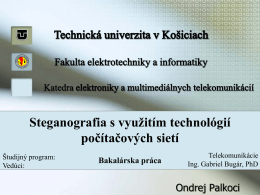Steganografia s využitím technológií počítačových sietí Bakalárska