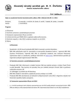 Zápis zo zasadnutia KBO SNA na letisku Boleráz dňa 09.11.2012