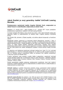 Jakub Dusílek je nový generálny riaditeľ UniCredit Leasing Slovakia