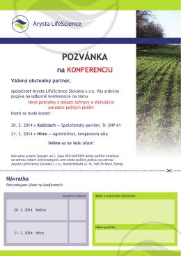 POZVÁNKA POZVÁNKA - Arysta LifeScience Slovakia s.r.o.