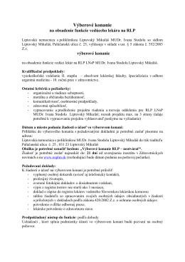 Výberové konanie - Liptovská nemocnica s poliklinikou MUDr. Ivana