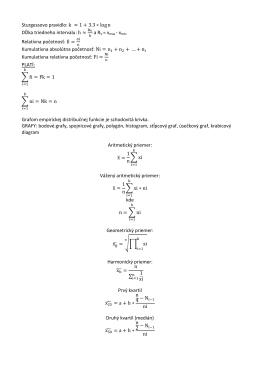 Sturgessovo pravidlo: k ≈ 1 + 3.3 ∗ log n Dĺžka triedneho intervalu