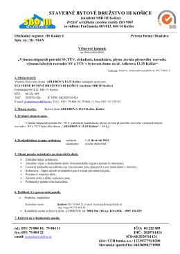 výberové konanie nové7417,7419 - Stavebné bytové družstvo III
