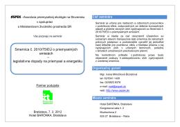 Smernica č. 2010/75/EÚ o priemyselných emisiách – legislatívne