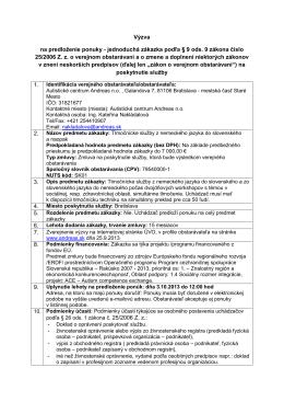Výzva na predloženie ponuky - jednoduchá zákazka podľa § 9 ods