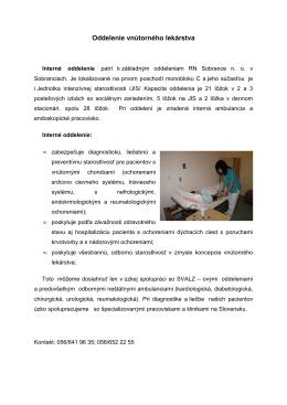 Oddelenie vnútorného lekárstva a jednotky intenzívnej starostlivosti