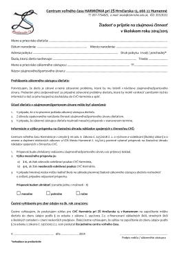 Žiadosť o prijatie na záujmovú činnosť v školskom roku 2014/2015